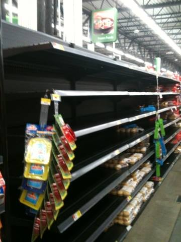 The actual bread aisle at the grocery store this evening.
